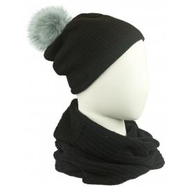 Komplet damski czapka na polarze z pomponem i komin - czarny