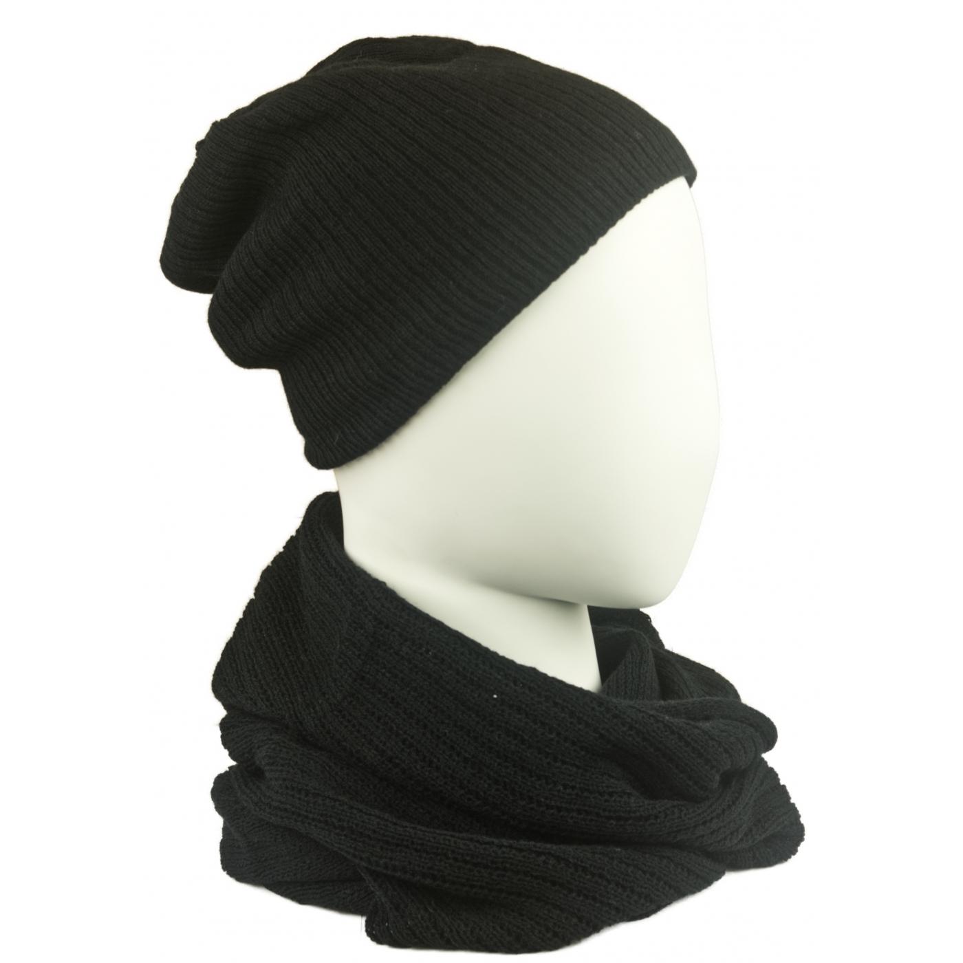 Komplet damski czapka na polarze i komin - czarny