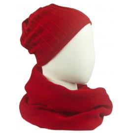 Komplet damski prążkowana czapka i szalik komin - czerwony
