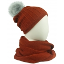 Komplet damski prążkowana czapka i szalik komin - rudy