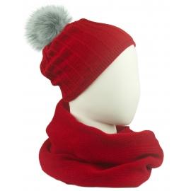 Komplet damski prążkowana czapka z pomponem i szalik komin - czerwony