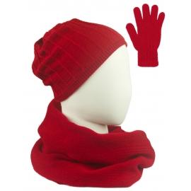 Komplet prążkowana czapka, szalik komin i rękawiczki - czerwony