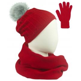 Komplet prążkowana czapka z pomponem, szalik komin i rękawiczki - czerwony