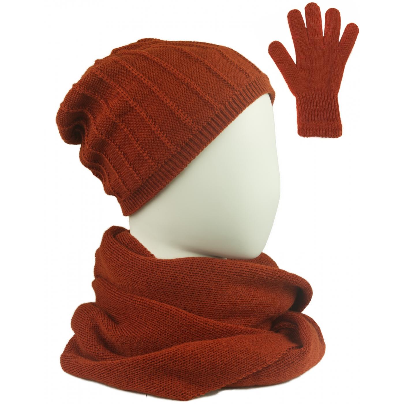 Komplet prążkowana czapka, szalik komin i rękawiczki - rudy
