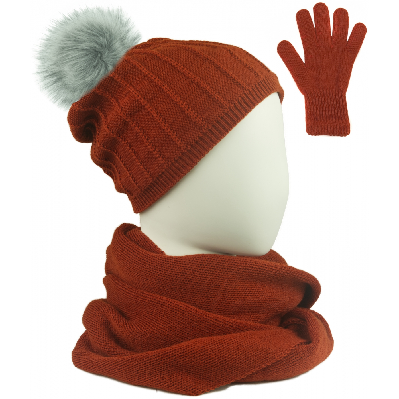 Komplet prążkowana czapka z pomponem, szalik komin i rękawiczki - rudy