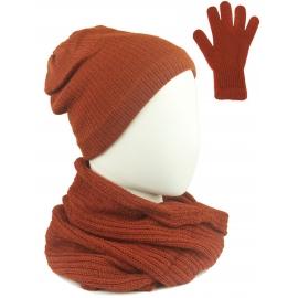 Komplet damski Sally czapka na polarze, komin i rękawiczki - rudy pomarańczowy