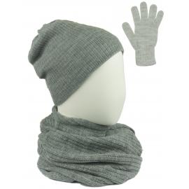 Komplet damski Sally czapka na polarze, komin i rękawiczki - szary