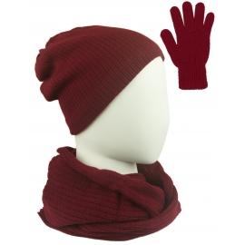 Komplet damski Sally czapka na polarze, komin i rękawiczki - bordowy