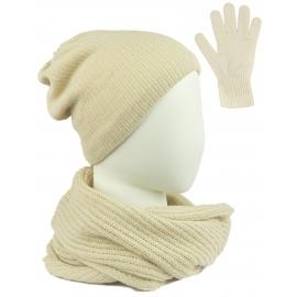 Komplet damski Sally czapka na polarze, komin i rękawiczki - beżowy
