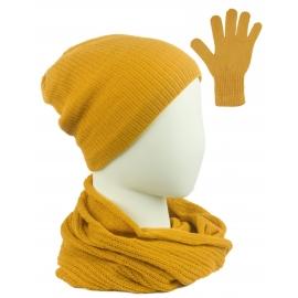 Komplet damski Sally czapka na polarze, komin i rękawiczki - żółty musztardowy