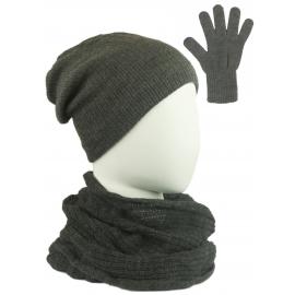 Komplet damski Sally czapka na polarze, komin i rękawiczki - grafitowy szary