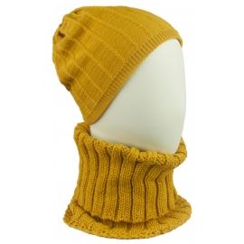 Komplet Emma czapka damska w prążki i szalik golf - musztardowy żółty