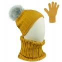 Czapka w prążki z pomponem i szalik golf i rękawiczki : musztardowy
