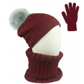 Czapka w prążki z pomponem i szalik golf i rękawiczki : bordowy