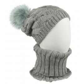 Komplet zimowy Goja czapka damska z pomponem i szalik golf - szary