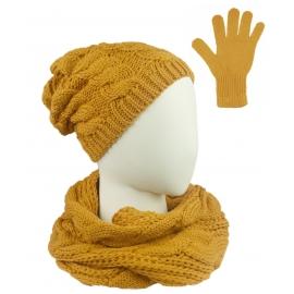 Czapka warkocze, szalik komin i rękawiczki : musztardowy