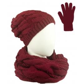 Komplet Sara - czapka zimowa damska, szalik komin i rękawiczki - bordowy w warkocze