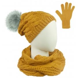 Komplet Sara - czapka zimowa damska z pomponem, szalik komin i rękawiczki - żółty musztardowy w warkocze
