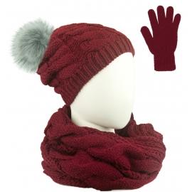 Komplet Sara - czapka zimowa damska z pomponem, szalik komin i rękawiczki - bordowy w warkocze
