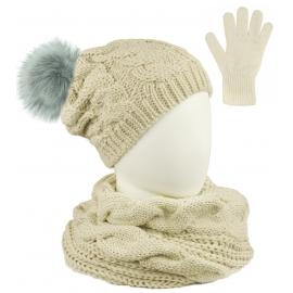 Komplet Sara - czapka zimowa damska z pomponem, szalik komin i rękawiczki - beżowy w warkocze