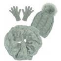 Komplet Sara - czapka zimowa damska z pomponem, szalik komin i rękawiczki - szary w warkocze