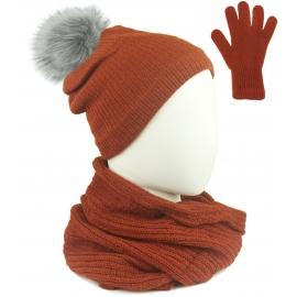 Komplet damski Sally czapka z pomponem na polarze, komin i rękawiczki - rudy