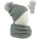 Komplet damski Sally czapka z pomponem na polarze, komin i rękawiczki - jasny szary