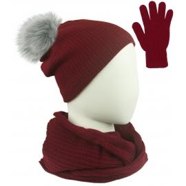 Komplet damski Sally czapka z pomponem na polarze, komin i rękawiczki - bordowy