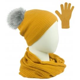 Komplet damski Sally czapka z pomponem na polarze, komin i rękawiczki - beżowy