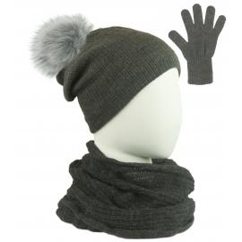 Komplet damski Sally czapka z pomponem na polarze, komin i rękawiczki - ciemny szary