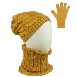 Komplet zimowy Goja czapka damska w warkocze, szalik golf i rękawiczki - musztardowy żółty