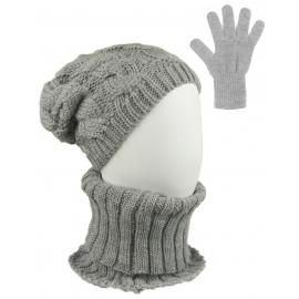 Komplet zimowy Goja czapka damska w warkocze, szalik golf i rękawiczki - szary