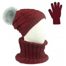 Komplet zimowy Goja czapka damska w warkocze z pomponem, szalik golf i rękawiczki - bordowy