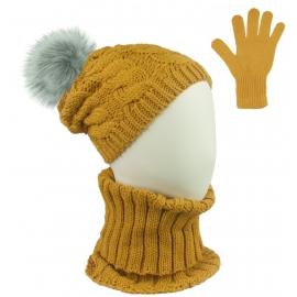 Komplet zimowy Goja czapka damska w warkocze z pomponem, szalik golf i rękawiczki - musztardowy