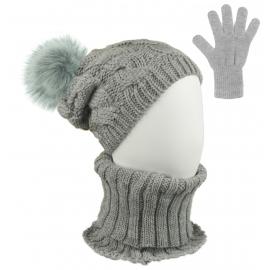 Komplet zimowy Goja czapka damska w warkocze z pomponem, szalik golf i rękawiczki - szary