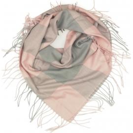 Duża chusta szal w kratę Tiffi - szary/różowy (rozmiar L)