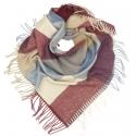 Duża chusta szal w kratę Tiffi - bordo/niebieski/karmel/ecru (rozmiar L)