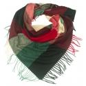 Duża chusta szal w kratę Tiffi - czerwony/zielony/czarny/beż (rozmiar L)