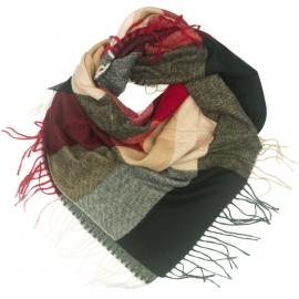 Duża chusta szal w kratę Tiffi - czerwony/czarny/kamel/biały (rozmiar L)