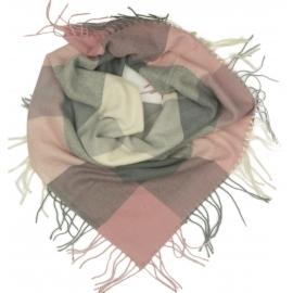 Duża chusta szal w kratę Tiffi - szary/brudny róż/kremowy (rozmiar L)