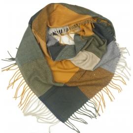 Duża chusta szal w kratę Tiffi - miodowy/grafit/biały (rozmiar L)