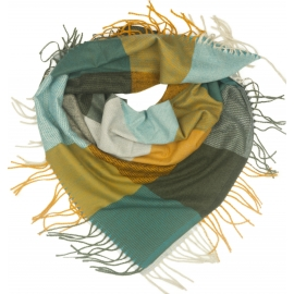 Duża chusta szal w kratę Tiffi - miodowy/grafit/morski/szary (rozmiar L)