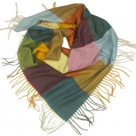 Duża chusta szal w kratę Tiffi - miodowy/grafit/karmin/niebieski (rozmiar L)