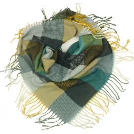 Duża chusta szal w kratę Tiffi - musztardowy/morski/grafit/kremowy (rozmiar L)