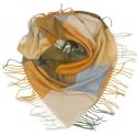 Duża chusta szal w kratę Tiffi - musztardowy/grafit/niebieski/kremowy (rozmiar L)