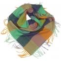 Duża chusta szal w kratę Tiffi - turkus/oranż/lila (rozmiar L)