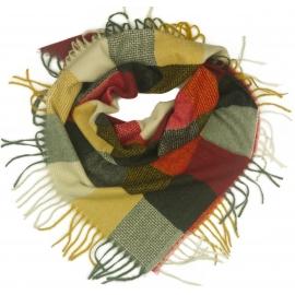 Duża chusta szal w kratę Tiffi - czerwony/karmel/grafit/kremowy (rozmiar L)