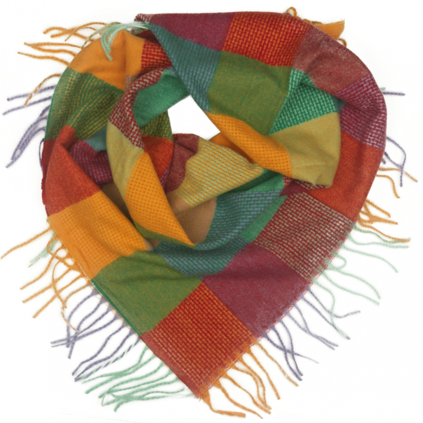 Duża chusta szal w kratę Tiffi - turkus/czerwony/oranż/lila (rozmiar L)