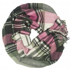 Szalik komin w kratę Evita - różowy/szary/kremowy