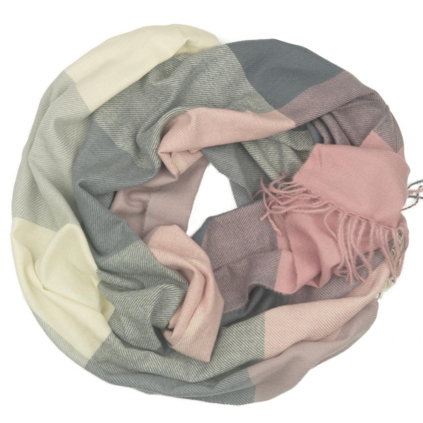 Szalik komin w kratę Evita - różowy/szary/ecru
